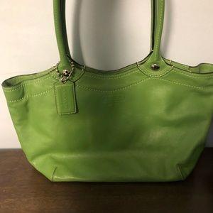 COACH green tote bag